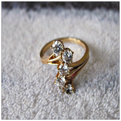 ring, cubic zirconia ring, yellow gold, yellow gold ring, 2 ct ring, 2 ct cubic zirconia, gold setting ring, five stone ring, online store, Fantasyland Jewels jewelry